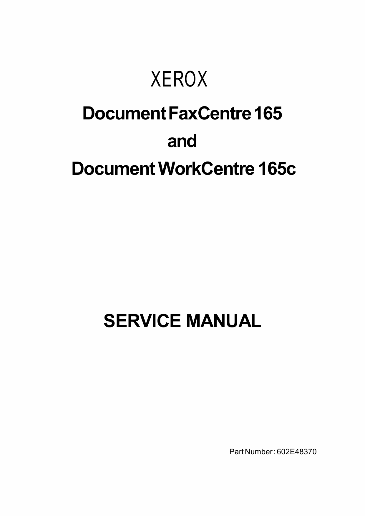 Xerox WorkCentre DWC-165c Parts List and Service Manual-1